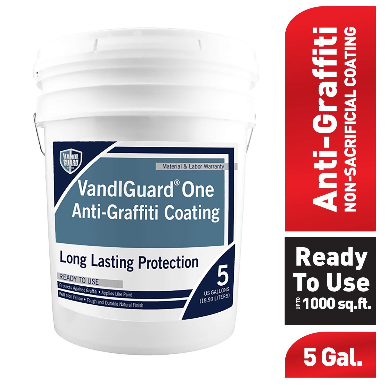 Rain Guard Water Sealers VG-7002 Vandlguardone Anti-Graffiti Coating 5 gal Pail – Painted & Unpainted Concrete, Block, CMU, Brick, EIFS, Stucco, Wood & Painted Metal, Clear, Bottle