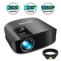 """Projector, GooDee 2020 Upgrade HD Video Projector Outdoor Movie Projector, 230"""" Home Theater Projector Support 1080P, Compatible with Fire TV Stick, PS4, HDMI, VGA, AV and USB"""