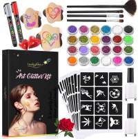 Luckyfine Glitter Tattoo Set, Glitter Tattoo Kit for Children Parties(24 Large Glitter Colors, 112 Cool Tattoo Stencil, 2 Glittered Glue, 4 Brushes) Body Glitter for Kids Perfect for Parties