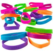 Kicko 24 Rubber Bracelets with Sayings 8 Inches Diameter, Wristband, Assorted Colors - Dream, Love, Courage, Hope, Faith, Strength - for Kids, Teens, Adults, Fashion, Prize, Party Favor