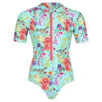 Tame the Sun Long Sleeve Swimsuit for Girls, UPF 50+, Ages 3-12 - Frills, One Piece Rash Guard Girls Bathing Suit