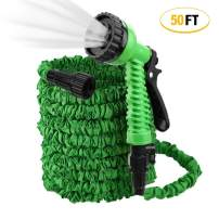 ActionEliters Expandable Garden Hose, Flexible Water Hose 7 Functions Hose Nozzles with Lightweight Triple Latex Core and Advanced Strength Fabric Protection for Gardening Car Washing (50ft Green)