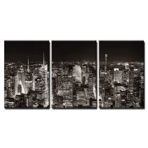 """wall26 - 3 Piece Canvas Wall Art - New York City Midtown Skyline Panorama with Skyscrapers and Urban Cityscape at Night. - Modern Home Decor Stretched and Framed Ready to Hang - 24""""x36""""x3 Panels"""