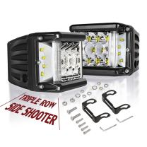 Side Shooter LED Lights Auto Power Plus 2Pcs 4 Inch 90W Cube Side Shot Pods Off Road Light Pods Dual Row Work Light Bar IP 68 Waterproof Driving Fog Lights