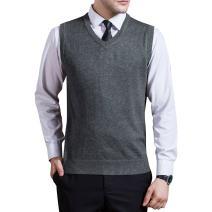 Zicac Men's Argyle Sweater Vest V-Neck Sleeveless Cable Knit Pullover Sweater Vest