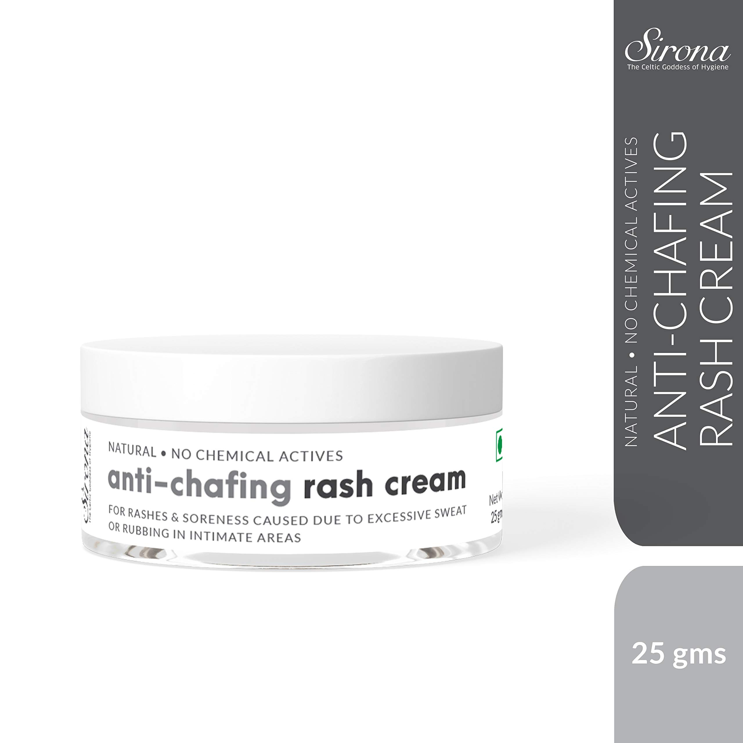 Sirona Natural Anti Chafing Rash Cream - 1 Ounce, Skin Healing Cream with 5 Magical Herbs| Helps in Soothing and Preventing Rashes Due to Sanitary Pads, Heavy Thighs, Sports Activities and Running