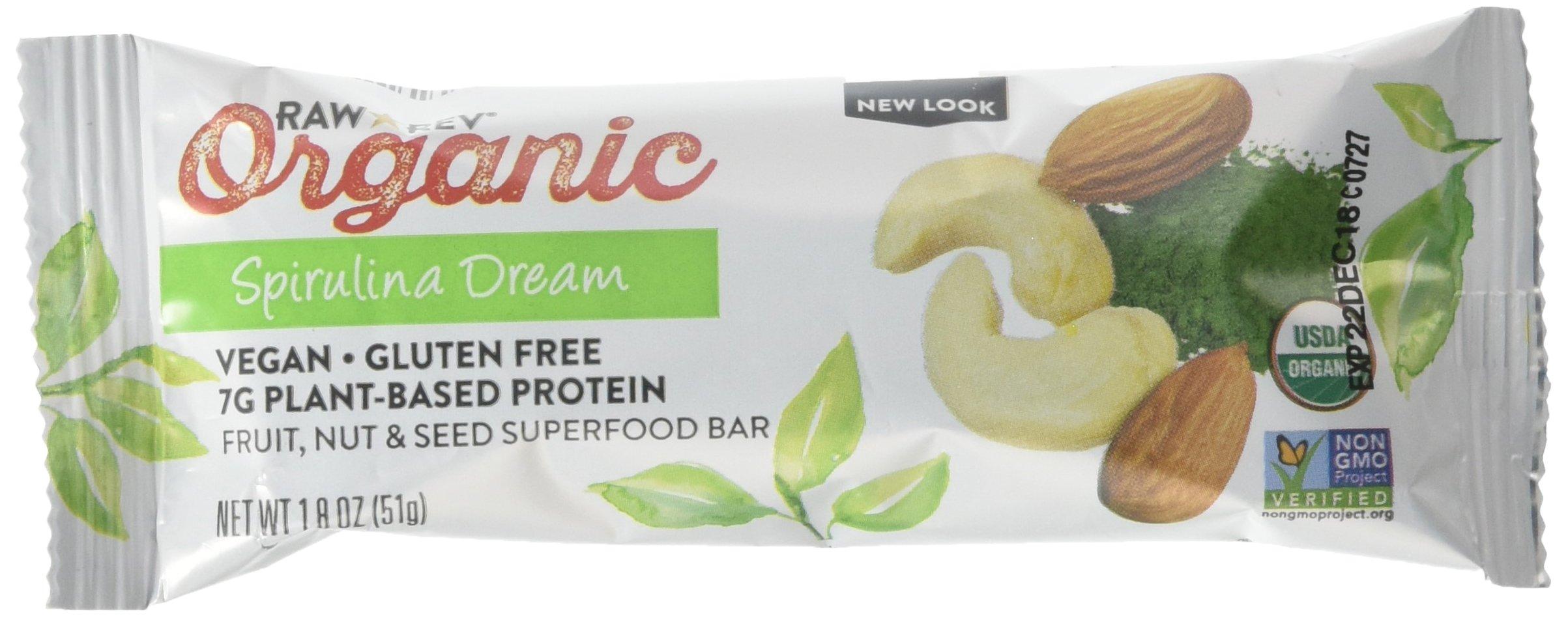 Raw Rev Organic Superfood Bar, Spirulina Dream, 1.8 Ounce Bar (Pack of 12) 7g Protein, 2g Fiber, Vegan, Raw, Organic, Plant-Based, Gluten-Free, Fruit, Nut, & Seed Bars