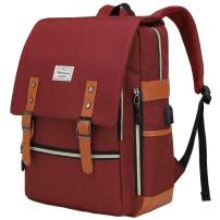 Modoker Vintage Laptop Backpack College Bag Gifts for Women Men, Slim Travel Backpack School Bookbag with USB Charging Port Casual Rucksack Daypack Fits 15 Inch Notebook