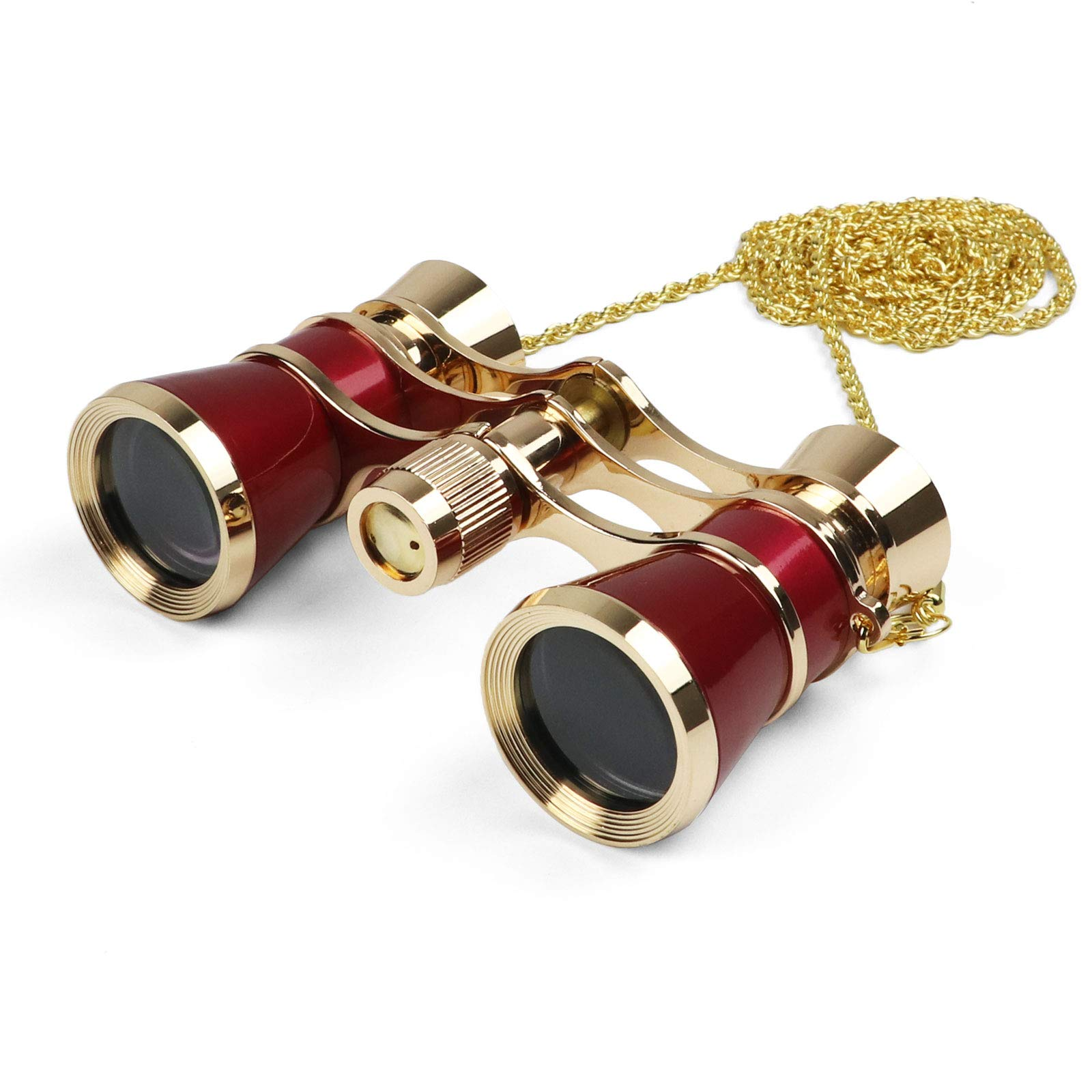 Kingscope 3X25 Vintage Opera Glasses Binoculars for Theater Musical Concert (Red, with Chain)
