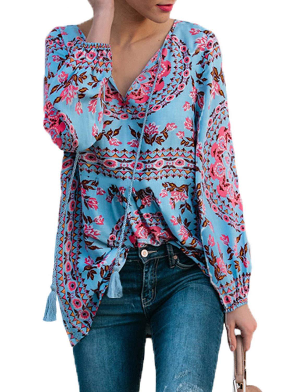 Eytino Women Casual Boho Floral Print V Neck Long Sleeve Drawstring Blouse Tops(Many Colors,S-XXL)