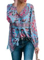 BLENCOT Women's V Neck Floral Long Sleeve Shirts Casual Loose Drawstring Blouses Tops