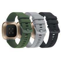 3 Pack Bands Compatible with Fitbit Sense/Fitbit Versa 3, Soft Silicone Wristband Accessories for Women Men, Replacement Strap for Fitbit Sense & Versa 3 Smart Watch-Black/Gray/Army Green