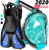 cozia design Snorkel Set Adult - Full Face Snorkel Mask and Adjustable Swim Fins, 180° Panoramic View Scuba Mask, Anti Fog and Anti Leak Snorkeling Gear, Extra Propulsion Flippers