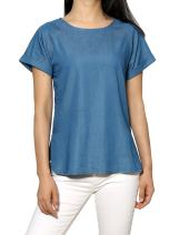 Allegra K Women's Cuffed Raglan Sleeves Side Slit Chambray Top