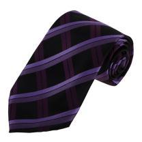 Dan Smith DAA7C09C Purple Black Checkered Tie For Fathers Day Microfiber Leadership Neckwear