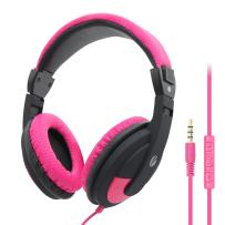 VCOM Wired Over Ear Headset - Lightweight Stereo Computer Headphones 5.9 Feet Long Cord with Microphone for Adults Teens Students Compatible for iPad Kindle Tablets Smartphones Laptop PC PS4 (Pink)