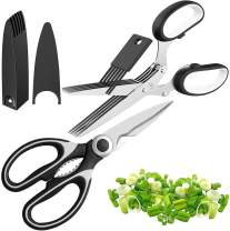 Kitchen Shears and Herb Scissors Set by STrighter - Combo Kit of Multipurpose Cutting Shears, Heavy Duty Stainless Steel, 5 Blades and Cover - Ideal for Meat, Poultry, Garden, Cooking and Crafts