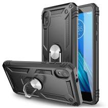Elegant Choise Moto E6 Case, Moto XT2005 Case, Hybrid Thin Ring Holder Kickstand Rugged Shockproof Anti-Scratch Bumper Armor Military Grade Drop Protection Cover for Motorola Moto E6 (Black)