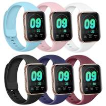 Silicone Bands Compatible with Apple Watch Bands 38mm 40mm 42mm 44mm, Soft Wristbands Compatible with iWatch Bands (Black/Navy Blue/Wine Red/Pink/White/Baby Blue, 38mm/40mm-S/M)