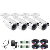 ZOSI 4 Pack HD-TVI 1280TVL 720p Home Security Camera Outdoor Indoor, Weatherproof Surveillance CCTV Bullet Camera with 80ft Long Night Vision and 75° View Angleon View Angle