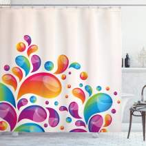 """Ambesonne Colorful Shower Curtain, Raindrops in Different Size in Gradient Colors Abstract Splash Style Design, Cloth Fabric Bathroom Decor Set with Hooks, 75"""" Long, Blue Orange"""