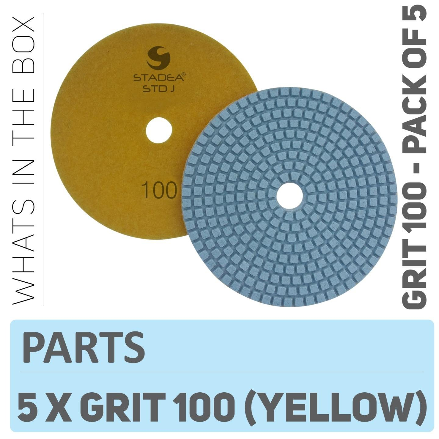 Stadea PPW241D Diamond Polishing Pads 5 Inch - For Concrete Terrazzo Marble Granite Countertop Floor Wet Polishing, Grit 100 - Pack of 5