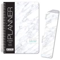 """HARDCOVER Academic Year Planner 2018-2019 - 5.5""""x8"""" Daily Planner/Weekly Planner/Monthly Planner/Yearly Agenda. Bonus Bookmark (Grey Marble)"""