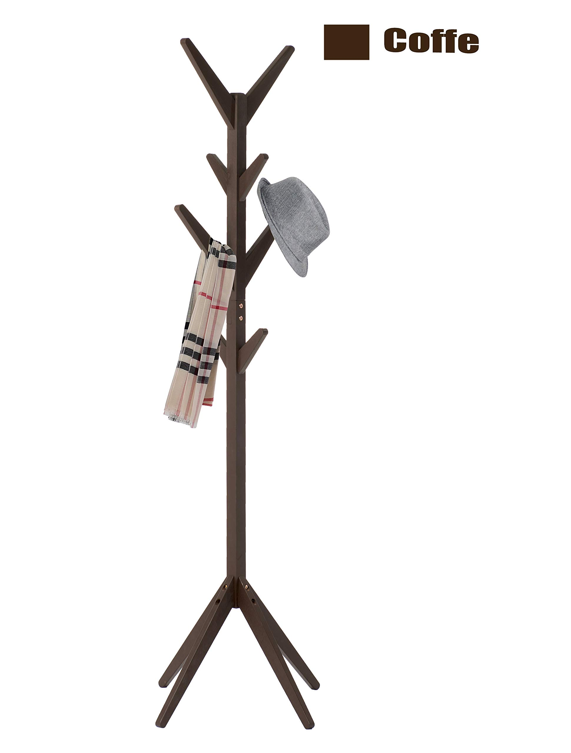 Neasyth Rubber Wood Coat Rack Entryway Standing Hall Tree Tetrapod Base for Hat Jacket Scarf Hanger Rack in Living Room Bedroom (Coffe)
