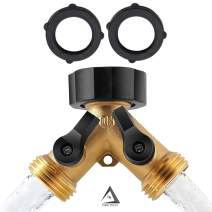 DBR Tech 2 Way Garden Hose Splitter for Outdoor Lawn and Gardening Hoses, Heavy Duty Metal Brass Faucet Attachment, Leak Resistant Threading with Shut Off Valves (2-Pack)