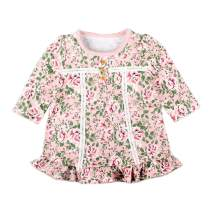 Zanie Kids Baby Girl's Dresses Short Sleeves/Long Sleeves Flower Print Outfit Organic Cotton Cute Baby Clothes, 2-Pack