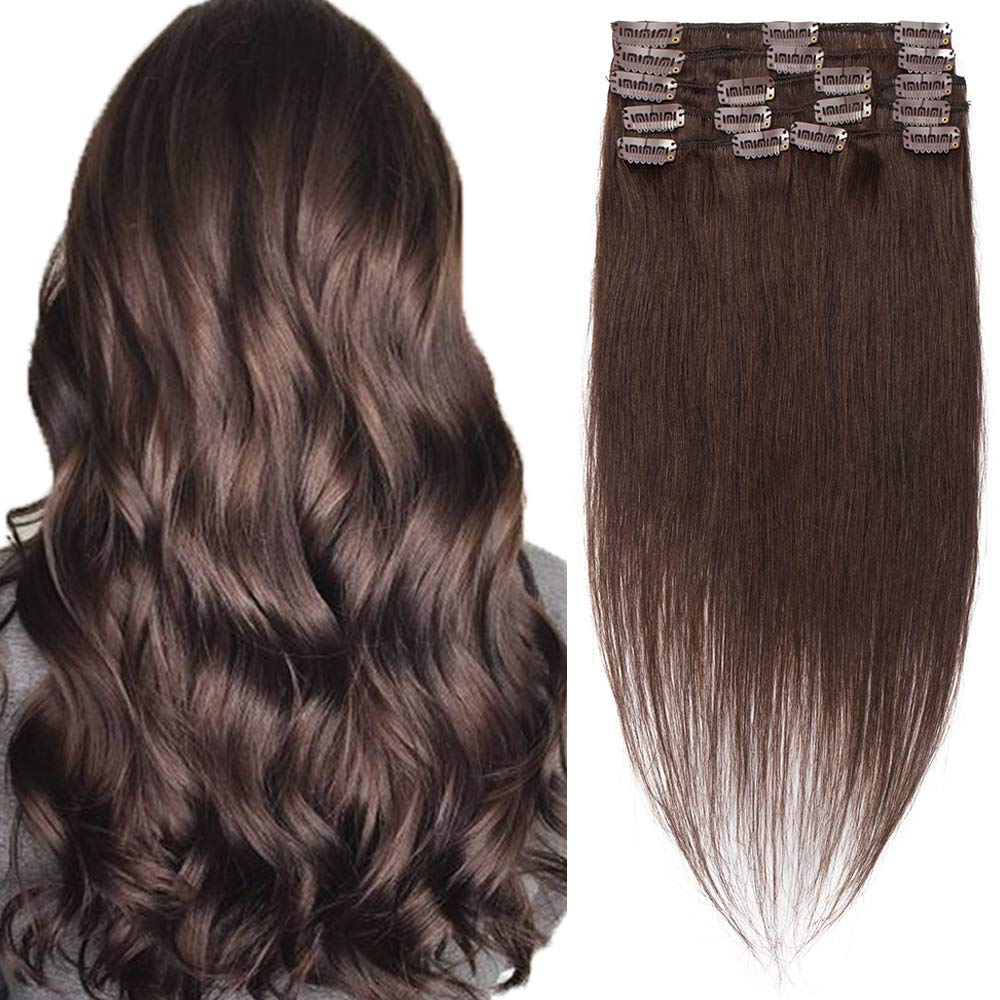 Clip in Hair Extensions 100% Human Hair Clip On Real Hair Standard Weft Natural Straight Seamless Clips Remy Hair Clip Ins Hairpieces Full Head For Women 8 Pcs 18 Clips 22 inch 75g #02 Dark Brown