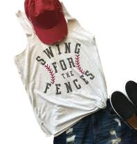 Swing for The Fences Racerback Tank Top Baseball Graphic Printed Tee Women Summer Vest Sleeveless Casual T Shirt