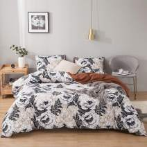 MOVE OVER Flowers Bedding Boho Floral Duvet Cover Set White Black Botanical Flowers and Brown Marble Design Boho Marble Bedding Sets Queen 1 Duvet Cover 2 Pillowcases (Queen, Flowers)