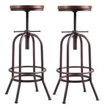 26 inch-32 inch Vintage Industrial Bar Stool-Metal Wood Swivel Bar Stool-Retro Bar Height Stool-Counter Height Adjustable Kitchen Stools-Set of 2,Fully Welded,Extra Tall Pub Height(Copper(2pcs))