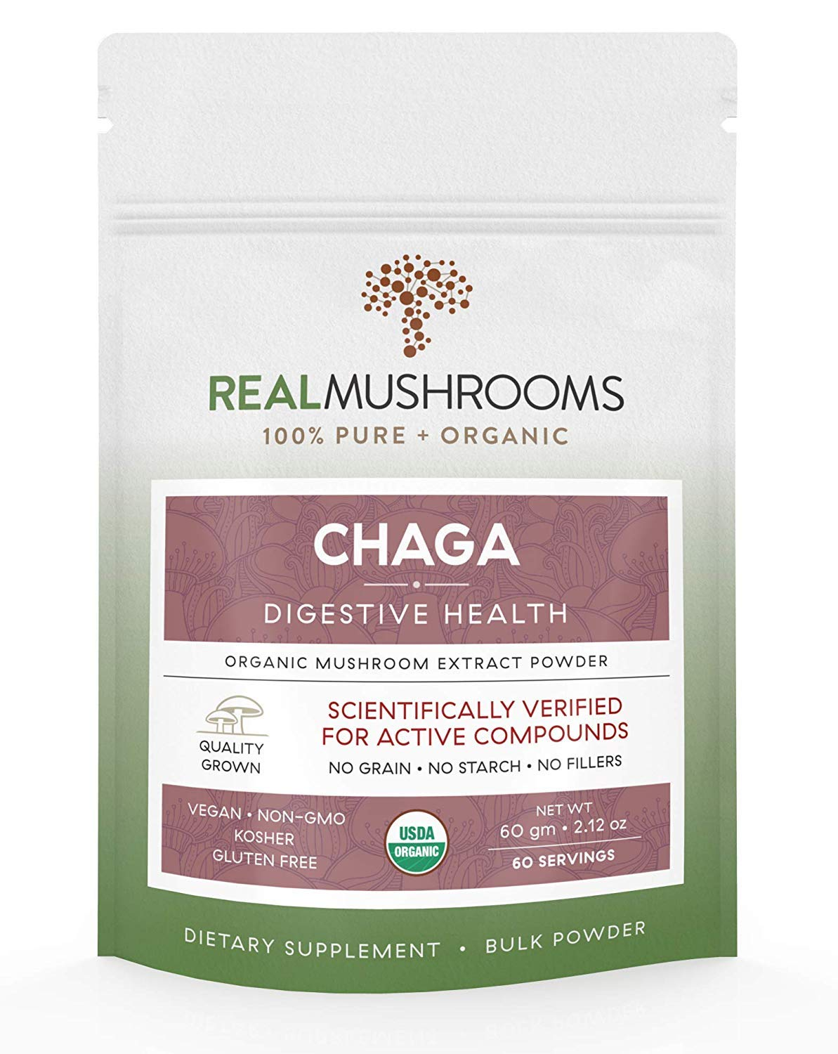 Chaga Mushroom Powder, 60g Vegan & Non-GMO Chaga Extract Digestive Health Supplement, Chaga Mushroom Supplement Powder, No Fillers, 60 Day Supply