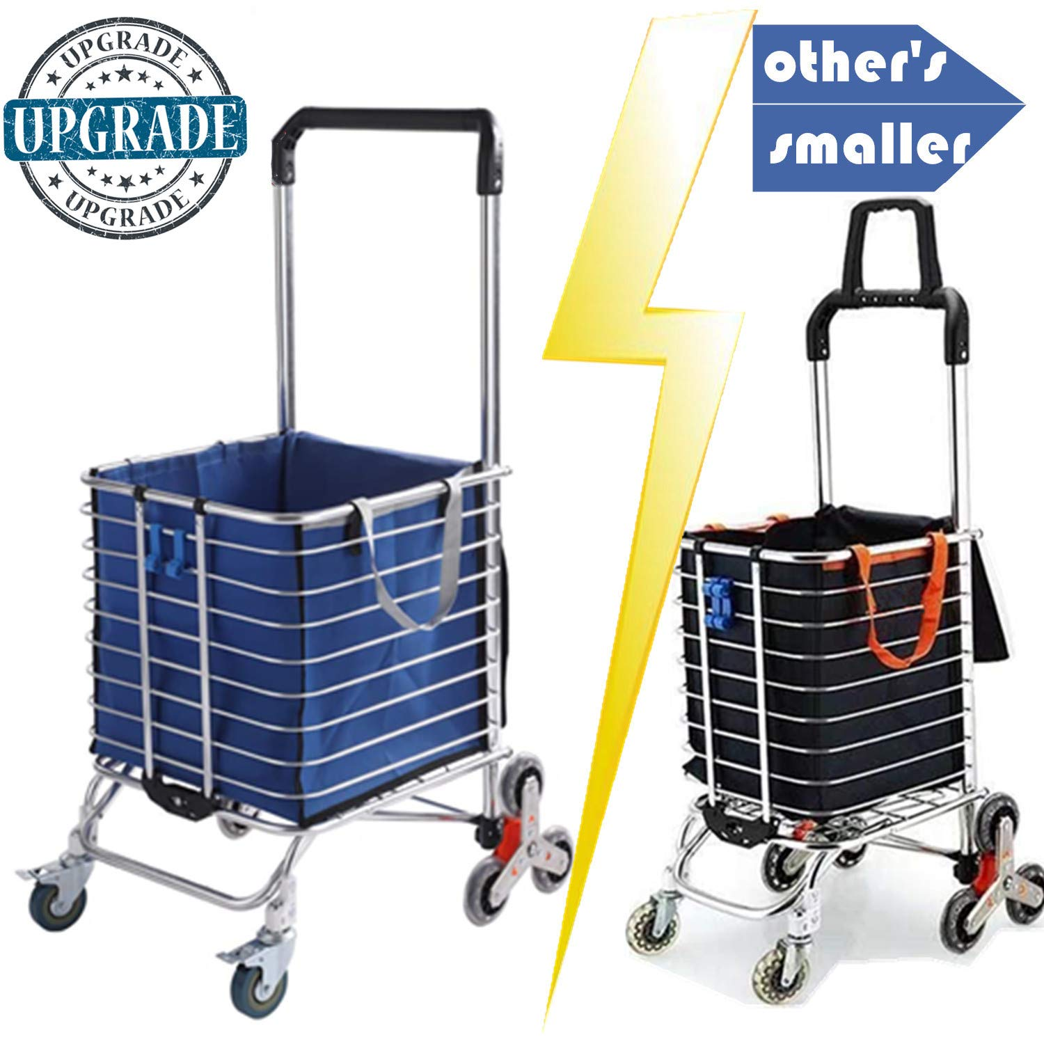 Foldable Shopping Cart Portable Grocery Cart Utility Lightweight Stair Climbing Cart with Rolling Swivel Wheels and Removable Waterproof Canvas Removable Bag (Blue)