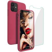 JASBON Case for iPhone 11, Silicone Shockproof with [Tempered Screen Protector], Gel Rubber Full Body Protection Drop Protection 6.1 inch Cover for iPhone 11 2019-Rose Red/Magenta
