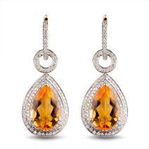 Lanmi 14k White Rose Yellow Gold Natural Tourmaline Citirine Drop Dangle Earrings for Women Girls