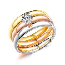 Herinos Women Engagement Rings Set Cubic Zirconia Titanium Steel Rose Yellow Gold Silver Three Ring Tri-Color Promise Wedding Band Rings