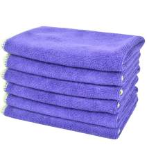 SINLAND All-Purpose Microfiber Cleaning Cloths Wiping Highly Absorbent & Lint Free Dusting Rags for Home and Kitchen 12Inchx12Inch Grape 6 Pack
