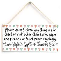"""Meijiafei Please do not Throw Anything in The Toilet Other Than Toilet Paper and Please use Toilet Paper sparingly. Thanks You - Functional Sign for Bathroom Or WC Using A Septic Tank System 10""""x5"""""""