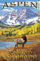 Aspen, Colorado - Mountains and Elk (24x36 Giclee Gallery Print, Wall Decor Travel Poster)