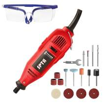 SPTA 110V 130W Variable Speed Electric Rotary Tool, Black Mini Drill with Safety Glasses and 15Pcs Accessories, for Cutting, Engraving, Grinding, Sanding