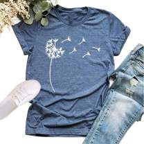 Women's Cute Summer T-Shirt Dandelion Vintage Funny Short Sleeve O Neck Graphic Tees Tops