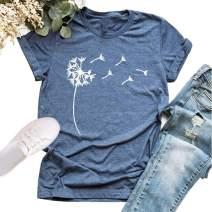 Women's Cute Summer T-Shirt Dandelion Vintage Funny Short Sleeve O Neck Graphic Tees Tops