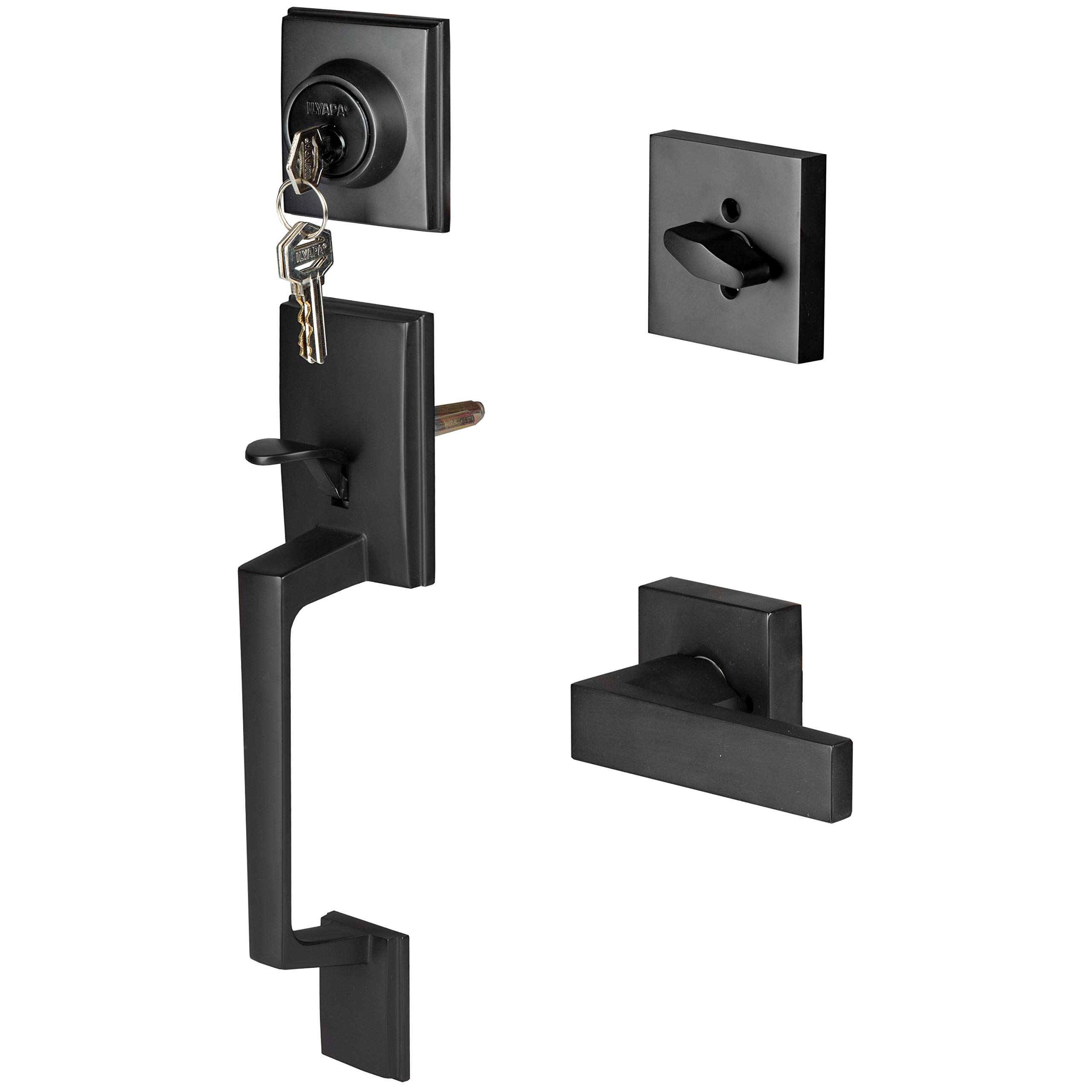 Modern Style Front Door Exterior Handleset - Lock Set Handle Hardware with Single Cylinder Deadbolt Lock and Halifax Lever - Low Profile Contemporary Design - Improved Matte Black Finish