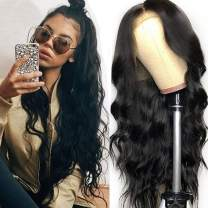 """Lemoda Brazilian 360 Lace Frontal Body Wave Hair Wig 150% Density Pre Plucked Virgin Human Hair Wigs With Baby Hair Bleached Knots Nature Color for Black Women (12"""")"""