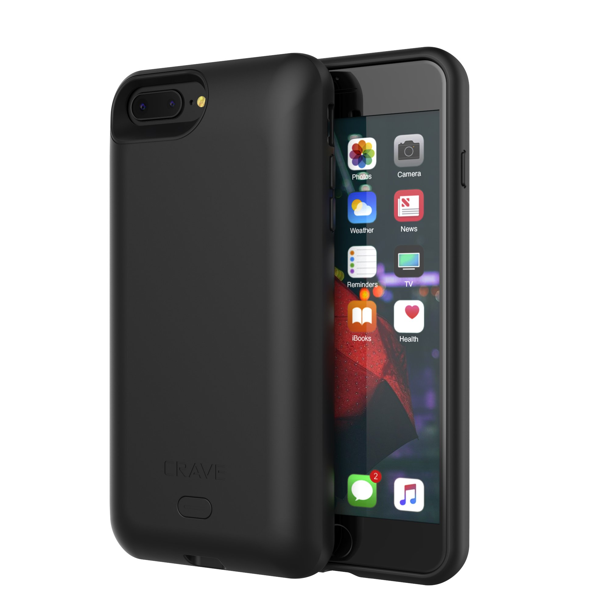 iPhone 8 Plus Battery Case, Crave PWR Case 4000mAh, Qi Wireless Charging Battery Extended Portable Charger Case for iPhone 8 Plus – Black