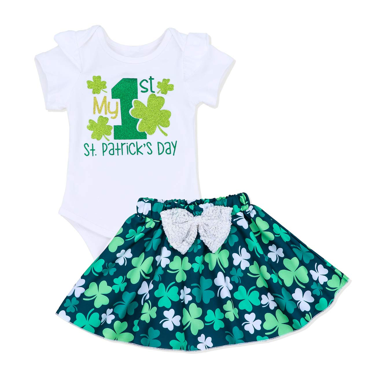 Newborn Baby Girl My 1st St. Patrick's Day Outfit Lucky Clover Romper+ Short Skirt 2PCS Outfit Set