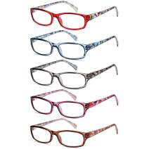 Gamma Ray Women's Reading Glasses - 5 Pairs Flex Hinge Fashion Readers for Women